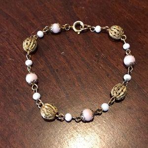 Vintage Goldtone Filigree White Pink Bead Bracelet
